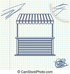 Street stall with awning and wooden rack line sketch icon isolated on white background. Kiosk with wooden rack. Vector Illustration