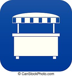 Street stall with awning icon digital blue