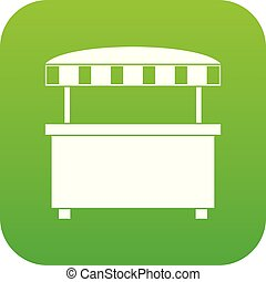 Street stall with awning icon digital green