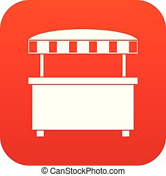 Street stall with awning icon digital red