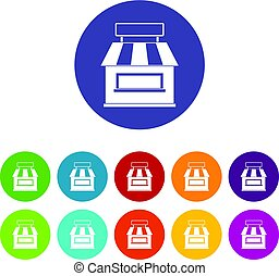 Street stall with awning icons set flat vector
