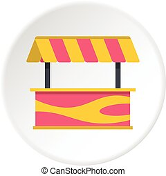 Street stall with striped awning icon circle