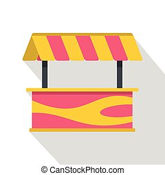 Street stall with striped awning icon, flat style
