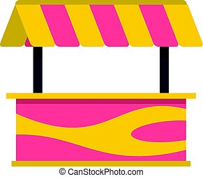 Street stall with striped awning icon isolated