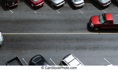 Street. - Aerial view of downtown street. Traffic passing....