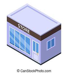 Street store icon, isometric style