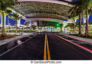 Street to new Marlins Park in Miami