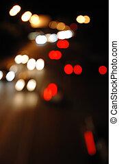 Street traffic at night - defocused  lights