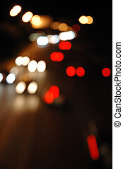 Street traffic at night - defocused  lights