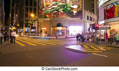 Street traffic in Hong Kong at night, timelapse