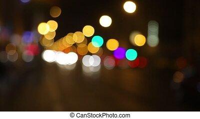 Street trafic blurry background - Defocused lights of...