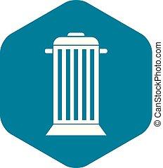Street trash icon, simple style