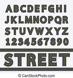 Street type font, Typography, Vector illustration