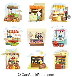 Street vendor booth and farm market food counters vector flat cartoon icons set