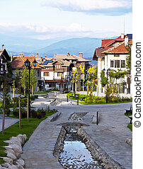 Street view and stone paved road