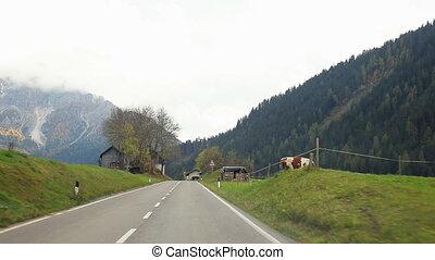Street view in italian mountain