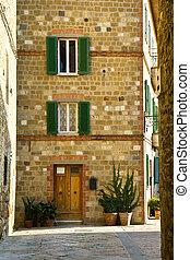 Pienza - Street view in Pienza village. Tuscany, Italy.