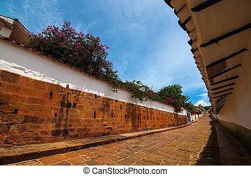 Street View of a Colonial Town