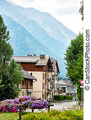 Street view of Chamonix town, France