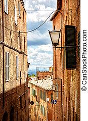 Street view of city Siena, Italy