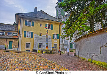 Street view of Fountain in the Old Town in Solothurn. Solothurn is the capital of Solothurn canton in Switzerland. It is located on the banks of Aare and on the foot of Weissenstein Jura mountains