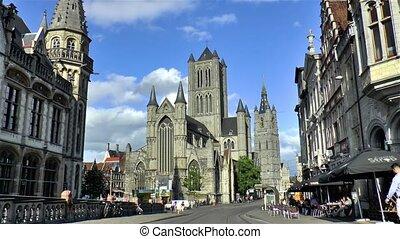 Saint Nicholas' Church, Sint-Niklaaskerk and Het Belfort van Gent, Ghent Belfry in Ghent, Gent, Belgium.