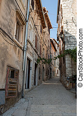 Street view of old town in rovinj  city, croatia  Europe