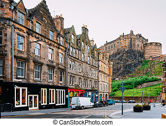 Street view on Edinburgh Castle in Scotland
