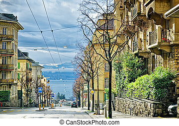 Street view to Geneva Lake in Lausanne