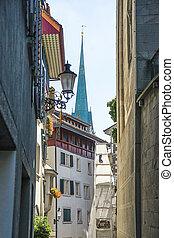 Street view to St Peter church in Zurich in summertime in Switzerland