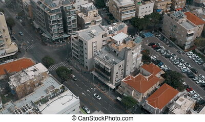 Street view with car traffic in Tel Aviv, Israel - High...