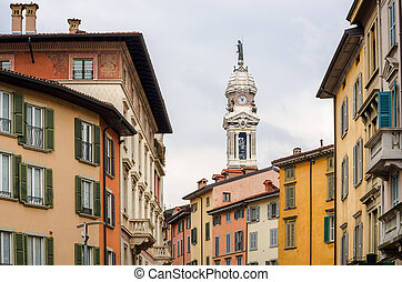 Street view with colorful houses in Bergamo, Lombardia