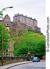 Street view with Edinburgh Castle in Scotland