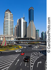 street views of shanghai finance and trade zone at daytime