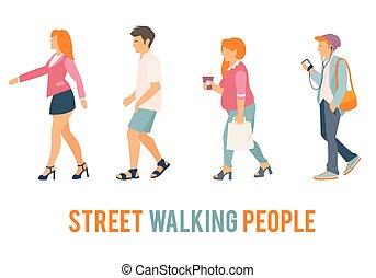Street walking people.
