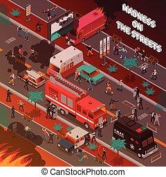 Street War Isometric Illustration