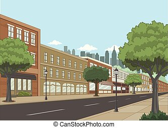 Street with buildings and trees. Big city landscape.