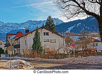 Street with Chalets and Alps at Garmisch Partenkirchen