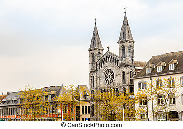 Street with church of the Redemptorists of Tournai, Walloon ...