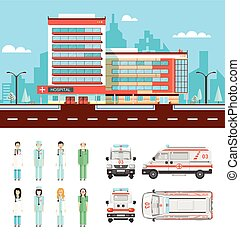 Street with clinic - Set stock vector illustration isolated...