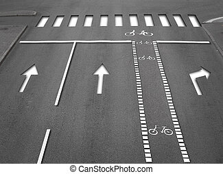 High angle view of street with lanes, arrows, pedestrian crossing and a cycling path, 3D effect