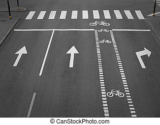 street with lanes, arrows and a cycliing path