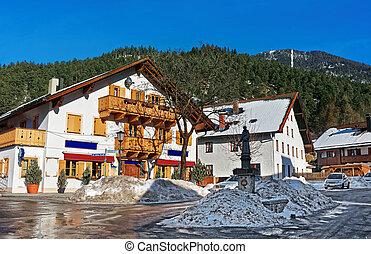 Street with fountain Garmisch Partenkirchen old town
