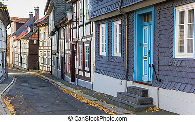 Street with half-timbered houses in the center of Goslar