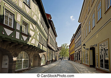 old street with traditional half-timbered houses in Nordhausen, Germany