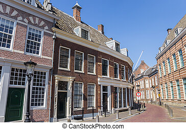 Street with historic houses in the center of Utrecht,...