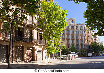 street with old houses. Barcelona. Spain.