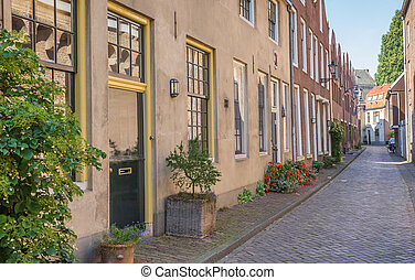 Street with old houses in the historical center of Zwolle