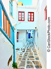 Street with small white houses in Mykonos town