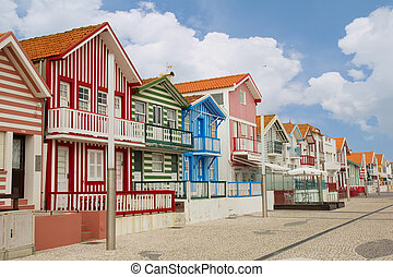 Costa Nova, Aveiro, Portugal - street with typical striped ...